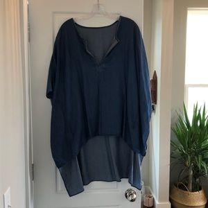 Chambray High-Low cocoon Tunic